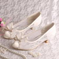 (More Colors)Custom Handmade 2015 New Women Cream Lace Low Heel Wedding Shoes Bride Bows
