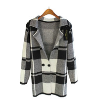 cardigansJIYUE 2014 new fall sweater woolen suit coat large lattice long cardigan sweatersweater cardigan