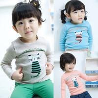 2014 new spring autumn children clothing boys girls cartoon cat  long-sleeve T-shirt kids base shirt child tops