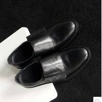 jiniwu 2014  men's velcro black genuine leather oxford brief flats business all-match classic shoes male trend dress shoe JS55