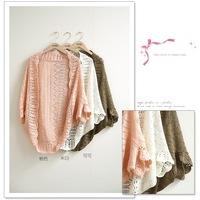 2014 new fashion women thin cardigan sweater hollow bat sleeve loose sun shirt air-conditioned shirt blouse shawl female 242
