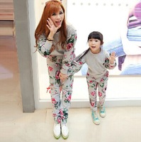 2014 Autumn New In Mother and Daughter Mini Floral Print Family Clothing Set