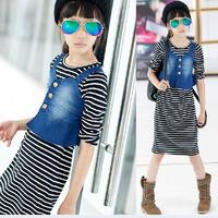 girls 2014 autumn sleeve striped stretch denim suspenders piece jumpsuit dress