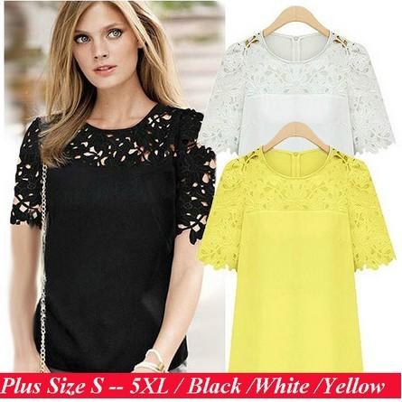 Hot !!Roupas Blusas Femininas 2015 Spring Summer Blouses Shirts Women Plus Size Hollow Out Short-Sleeve Lace Chiffon Cheap Tops(China (Mainland))