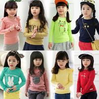 New 2014 spring autumn children kids girls clothing baby casual shirt top tee child long-sleeve shirts t-shir