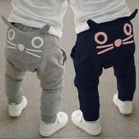 New fashion spring autumn boys girls clothing cartoon cat kids harem pants children fleece trousers child clothing