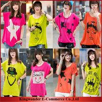 Free Shipping Wholesale brand new 2014 autumn summer T-shirt big size women loose modal bat Stylish generous T shirt T-SS001