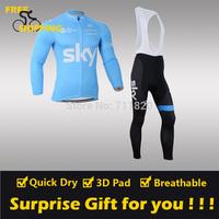2014 Blue Sky Fleece Thermal Long Sleeve and Bib Pants Cycling Jerseys /Wear/Clothing/Bicycle/Bike/Riding jerseys/Gel Pad