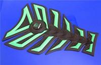 Free shipping 6PCS For DERBI BENELI APRILIA YAMAHA HONDA 3D Decal Sticker Motorcycle Polyester  Rubber Tank Pad Protector Green