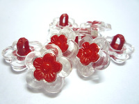 15MM 500PC Red Crystal Resin Flower Button Kid