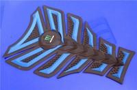 Free shipping 6PCS For YAMAHA HONDA SUZUKI BMW KAWASAKI 3D Decal Sticker Motorcycle Polyester Rubber Tank Pad Protector Blue