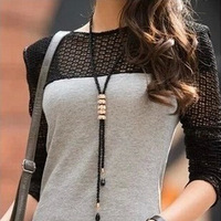 Fashion Black Beads Sweater Necklace Fashion Crystal Tassels Long Necklaces For Women
