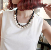 Fashion OL Gold-plated Chain Wrap Rope Pearl Pendants Necklace Statment Choker Collar for Women Jewelry Bijouterie