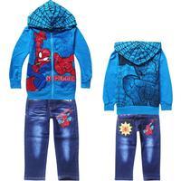 Retail children's clothing sets Spiderman (hoodie + pants) Boys sport suit set cartoon Spring Kids jacket boys clothes blue B282