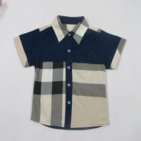 In stock New 2014 summer short-sleeved shirts for children boys clothing Brand Kids shirt Plaid 100% cotton Red,white,blue 68259