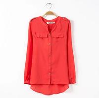 XXXXL 4XL 3XL 2XL 2014 spring autumn plus size tops long design chiffon women top sun protection clothing fashion chiffon shirt