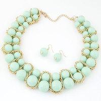 Fashion Women Jewelry Sets of Drop Earrings & Necklaces Candy Balls Statement Choker Collar Bijouterie