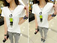 2014 New Arrival Fashion Women's Summer Cute Girl Printed White T-Shirts/Tops/TShirts,Free Shipping