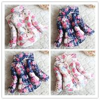 Top On Top  Retail 1PC New 2014 Baby Girls Flower Coats Jackets Thick Fleece Wadded Autumn Winter Children Outerwear