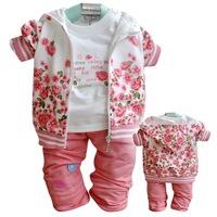 New 2014 3pcs /set baby girl clothing set  Floral Kids Clothes Sets  Girl Coat  Tshirt Pants Autumn Children Clothing suit  B174