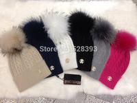 Raccoon fur big bubble pompom Cava*lli women's wool rabbit knitted hat wool hats big balls free shipping