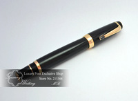 14k Gold Luxury Pen Boheme Series Fountain Pen with Black Austria Diamond, High Class Gift Pen, Hot Sale Office Stationery