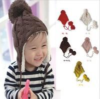 Children's Hats Winter Earflap Crochet Hat For Children Boy Girl Warm Cap Red Pink Yellow Beige Blue Brown 2014 Hot New#NB15