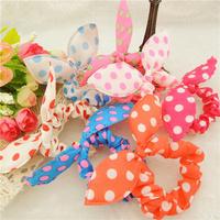 2014 Fashion Hair band Polka dot hair rope Accessories for girls Rabbit Ears headband scrunchy 10Pcs/Lot Free Shipping