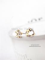 CC small earrings wholesale for women high zircon channel stud earring synthetic diamond fashion mini earrings 18K gold plated