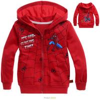 Retail New Fashion Spiderman boys hoodie coat Spring&autumn children outwear kids boy spider-man jacket 1pcs/lot Red C147