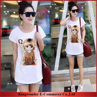 Free Shipping Wholesale brand new 2014 autumn summer T-shirt big size women loose Cotton Printed  generous T shirt T-SS004