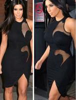 NEW 2014 WOMEN SEXY MESH CLOTH PATCHWORK BAG HIP SLEEVELESS TIGHT DRESSES