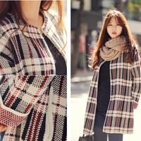 Women Fashion Autumn Plaid Long Sleeve Sweater Vantage Style Thick Cardigan New  Loose Casual Black Coarse wool Open Stitch Coat
