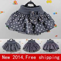 New 2014  baby tutu skirt Girl dot woolen  skirt girls skirts cake  causal cotton dance skirt for girl  2T~6 Free shipping DA021