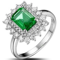 Luxury Women's 925 Silver Filled  Green Emerald CZ Crystal Stone Statement  Ring