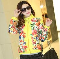 2014 autumn and winter vintage flower print short design stand collar down cotton-padded jacket slim wadded jacket  women down
