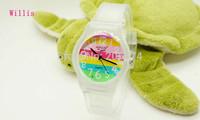 Willis frosted Transparent Rainbow Design Fashion women dress Waterproof Analog Wrist quartz Watch Unisex watches Children Watch