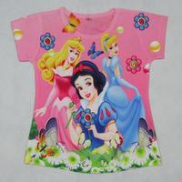 New 2014  clothes for children,3D  girls shirt ,short sleeve kids t shirt, Kids cartoon t shirt  Free shipping T05