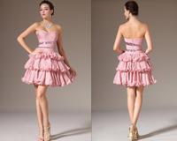 pink tiered short mini sleeveless sequins Sexy vestidos de fiesta party to dress prom gowns shots evening dresses 2014 FSL-316