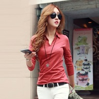 Top!  2014 Spring And Autumn  Korean Style  Long-sleeve T-shirt  Solid  Color  V-neck Shirts  Plus  Size S-XXL  Za  Women