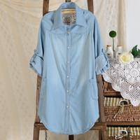 High quality XXXL 3xl Plus size women's autumn long-sleeve shirt autumn loose outerwear turn-down collar medium-long denim shirt