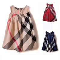 Free shipping Baby girls one-piece dress new 2014  100% cotton girl plaid dress fashion Casual dress sleeveless  dresses #6335