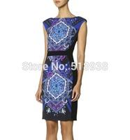 New 2014 autumn winter women vintage fashion floral print sheath dress knee length black sleeveless plus size brand dresses xxl