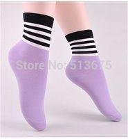 Free Shipping 2014 autumn new women's Fall colorful striped cotton socks lady socks Meia