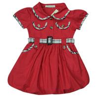 Retail Baby Dress Girls Brand Dresses Children Grid Dress With Belt 2014 Summer Girl Design Dresses Free Shipping #68078
