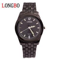 LONGBO authentic men's fashion business Waterproof quartz watches Black dial watch of wrist of steel belt