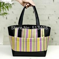 New Fashion Stripe Oxford Picnic Bag Lunch Bag Food Bags Women Handbag Women Messenger Bags