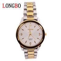 LONGBO brand High-grade business men watch Waterproof steel band quartz white dial watch 8378