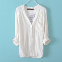 High quality White shirt female autumn top women loose plus size linen shirt women long-sleeve cardigan sun protection clothing