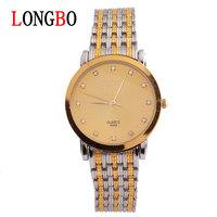 LONGBO brand Men's fashion business quartz watch Rhinestones waterproof strip wrist watch 8458